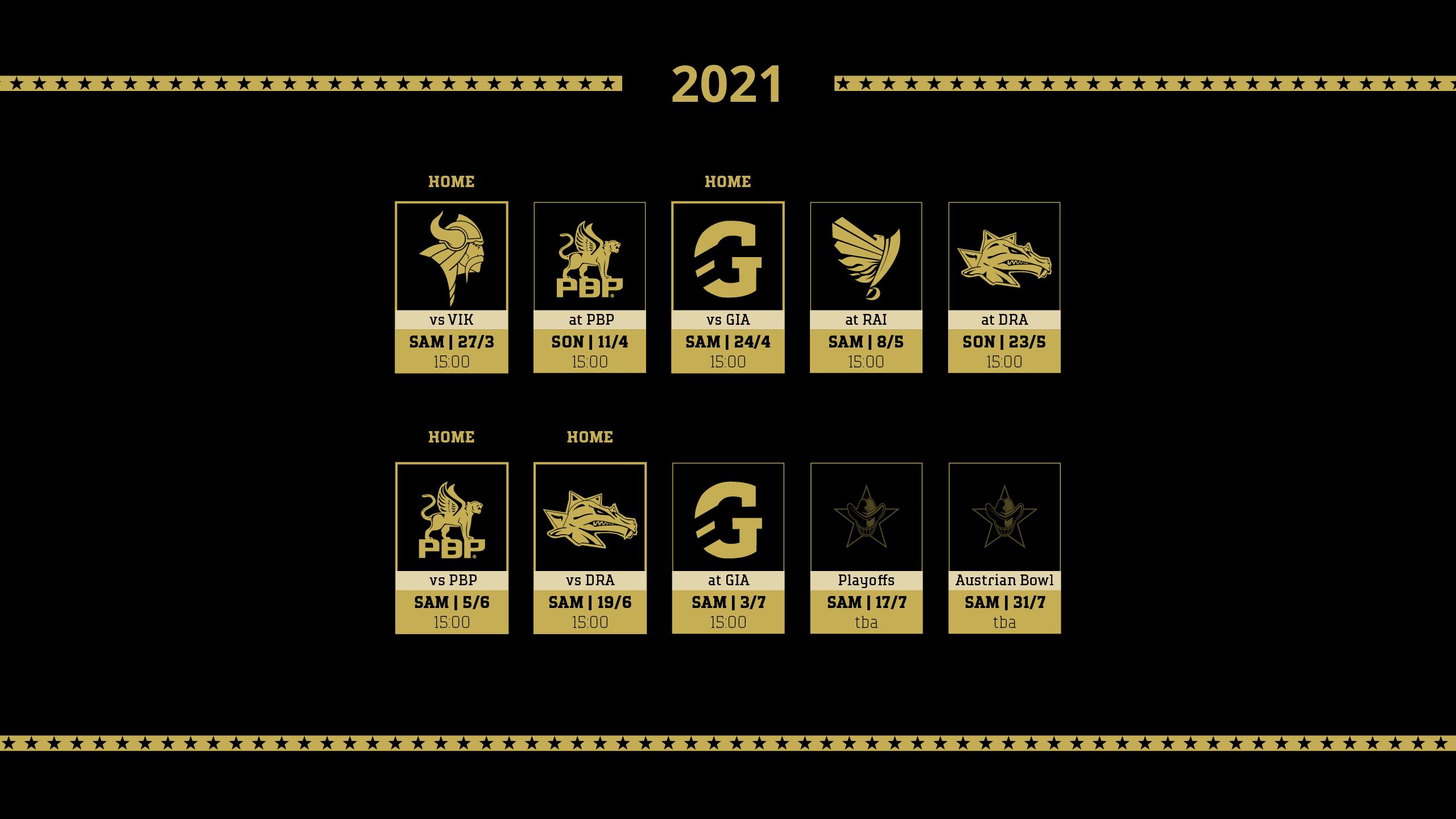 Terminübersicht der Gamedays 2021
